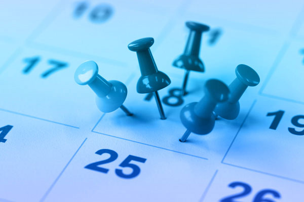 Pins marking payroll date in calendar